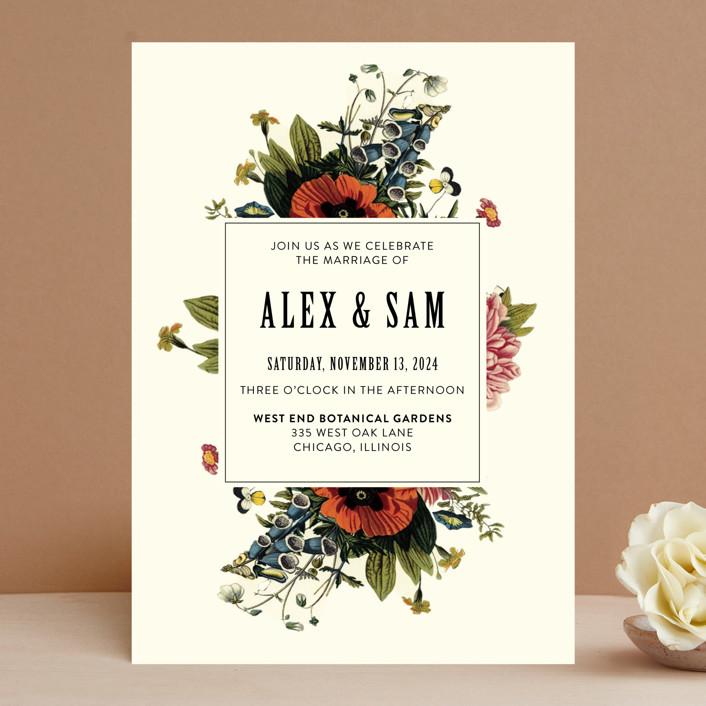 """""""Vintage Garden Invite"""" - Wedding Invitations in Vintage Beige by Alisa Wismer."""