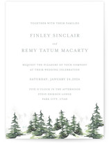 This is a grey wedding invitation by Mere Paper called On the Slopes with standard printing on signature in standard.