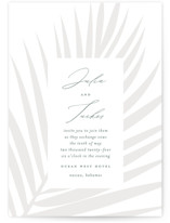 This is a grey wedding invitation by Lauren Chism called Faded Palm with standard printing on signature in standard.