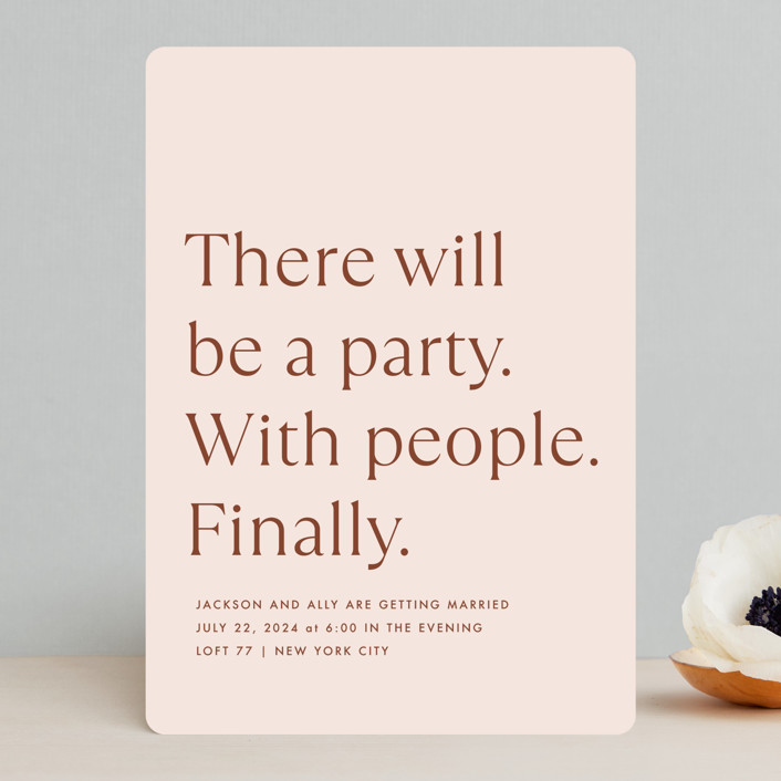 """""""There Will Be a Party"""" - Funny Wedding Invitations in Terra Cotta by Amy Payne."""