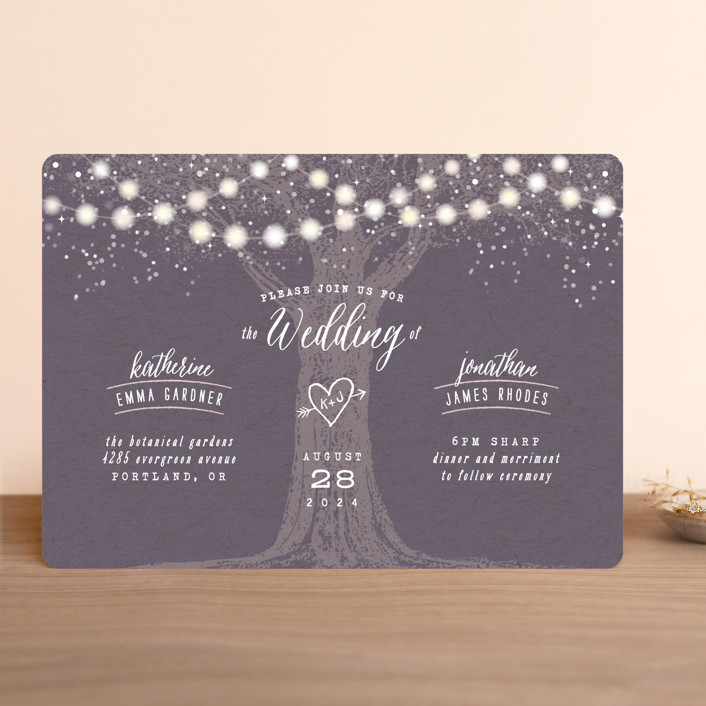 garden lights rustic wedding invitations in plum by hooray creative