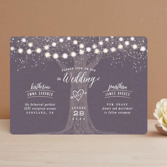 """Garden Lights"" - Rustic Wedding Invitations in Plum by Hooray Creative."