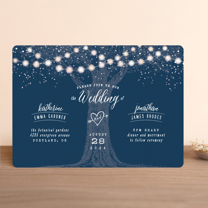 """Garden Lights"" - Rustic Wedding Invitations in Plum by Hooray Creative."