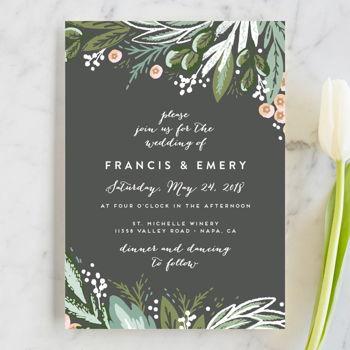 """""""Meadow Breeze"""" - Rustic, Floral & Botanical Wedding Invitations in Charcoal by Alethea and Ruth."""