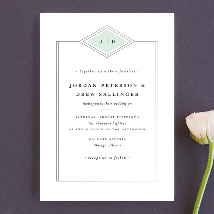 """Modern Elegance"" - Modern Wedding Invitations in Mint by Stacey Meacham."