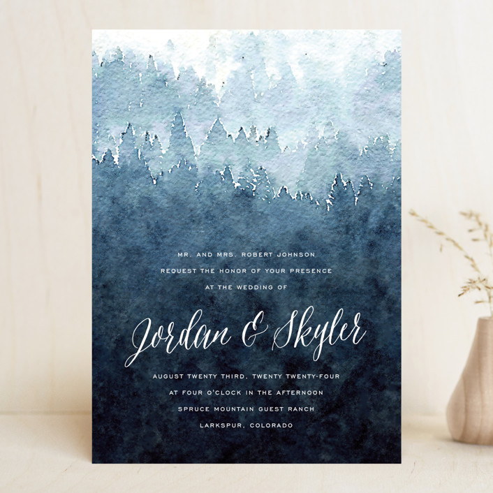 """""""Mountain Retreat"""" - Rustic Wedding Invitations in Evening Sky by Design Lotus."""
