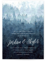 This is a blue wedding invitation by Design Lotus called Mountain Retreat with standard printing on signature in standard.