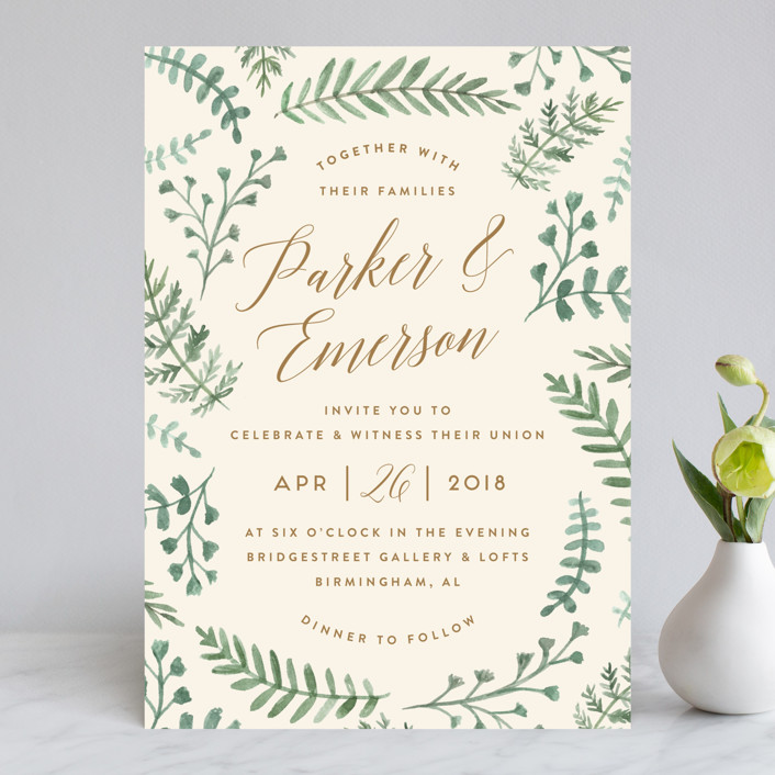 """Painted Ferns"" - Rustic, Floral & Botanical Wedding Invitations in Cream by Amy Kross."