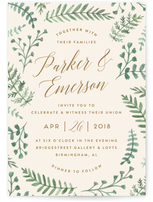 Painted Ferns Wedding Invitations