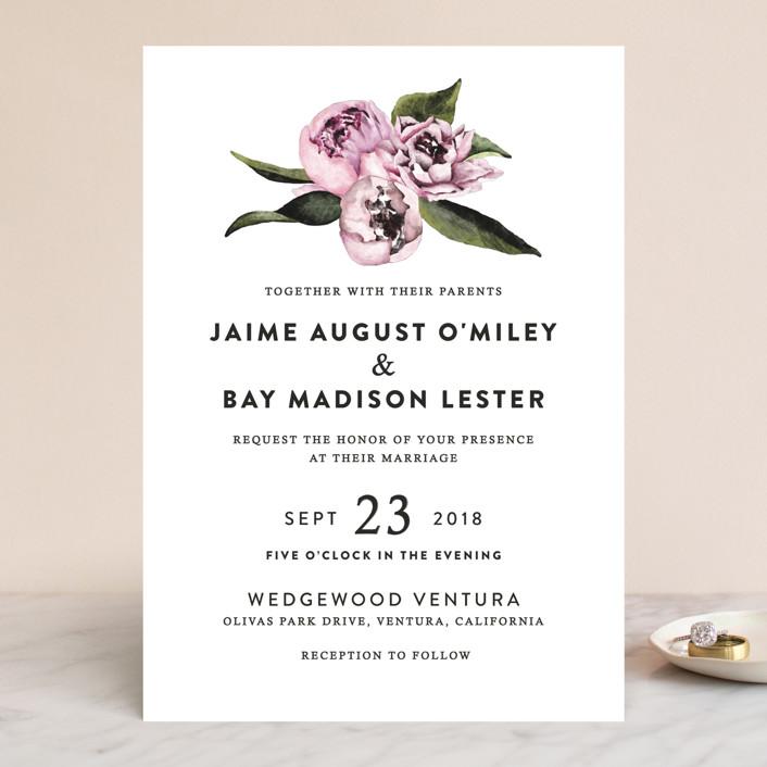 """Peony"" - Wedding Invitations in Ice Mist by Cass Loh."