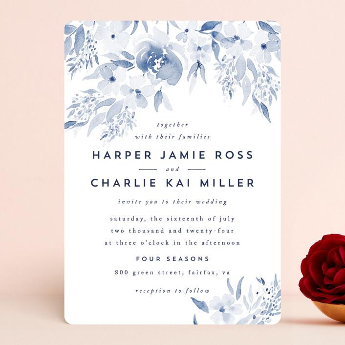 """""""Poetic Watercolor Flowers"""" - Wedding Invitations in Periwinkle by Qing Ji."""