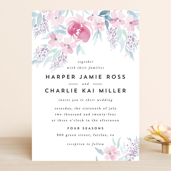 Poetic Watercolor Flowers Wedding Invitations By Qing Ji