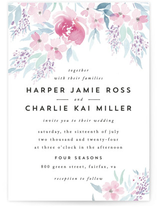 watercolor floral wedding invitations minted