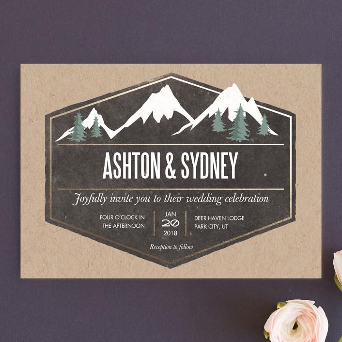 rustic mountain wedding invitations in charcoal by karidy walker - Mountain Wedding Invitations