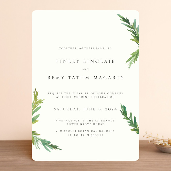 """""""Simple Pine Branches"""" - Rustic, Simple Wedding Invitations in Vanilla by Mere Paper."""
