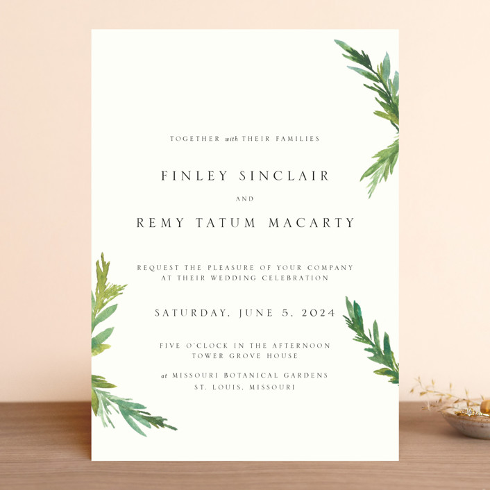Simple Pine Branches Rustic Wedding Invitations In Vanilla By Nikkol Sen