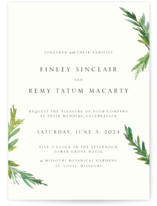 This is a white wedding invitation by Mere Paper called Simple Pine Branches with standard printing on signature in standard.