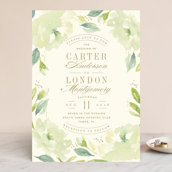 """Southern Garden"" - Wedding Invitations in Moss by Lori Wemple."