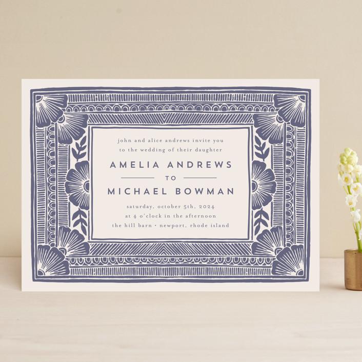 """Block Print Frame"" - Bohemian Wedding Invitations in Twilight by Katharine Watson."