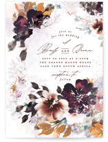 This is a red wedding invitation by Phrosne Ras called Lush Bouquet with standard printing on signature in standard.