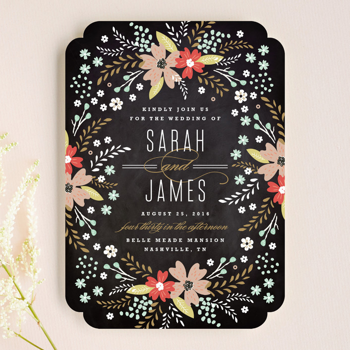 Chalkboard Floral Wedding Invitations by Kristie Kern Minted