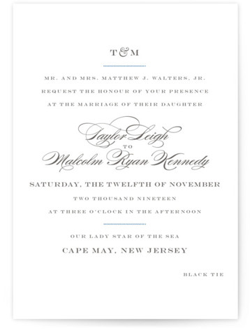This is a landscape, portrait classic and formal, classical, elegant, formal, monogrammed, simple and minimalist, blue, grey Wedding Invitations by danielleb called Charming Go Lightly with Standard printing on Signature in Classic Flat Card format.