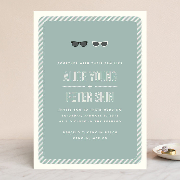 """Shades"" - Whimsical & Funny Wedding Invitations in Celadon by Olive and Violet."