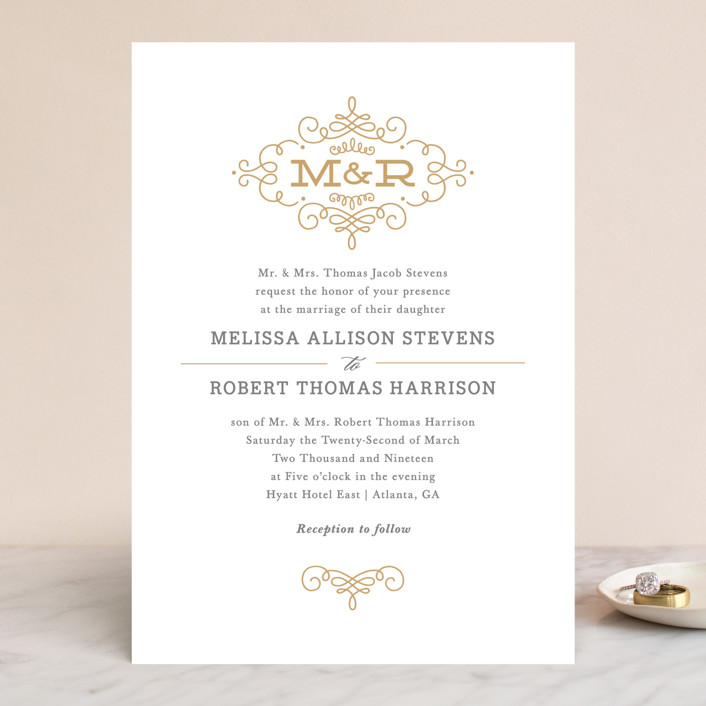 """Ornate Monogram"" - Monogrammed, Elegant Wedding Invitations in Faux Gold by Kristen Smith."