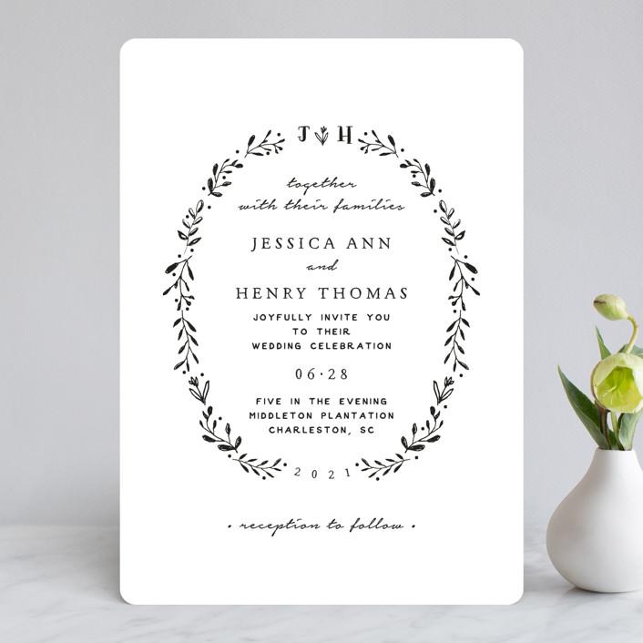 """Charleston"" - Monogram Wedding Invitations in Tuxedo by Susan Brown."