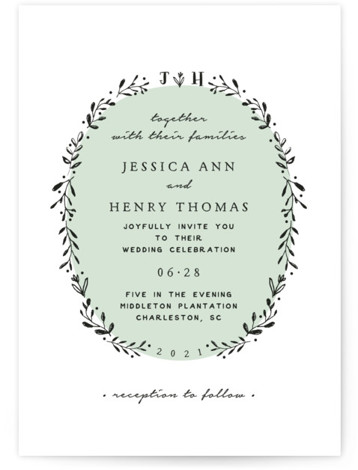 This is a portrait botanical, monogram, green Wedding Invitations by Susan Brown called Charleston with Standard printing on Signature in Classic Flat Card format. A hand drawn wreath joined at the top by your initials or monogram.