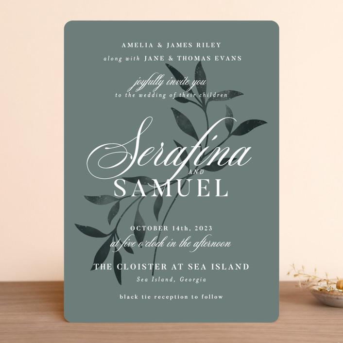 """Serafina"" - Wedding Invitations in Sage by Melanie Kosuge."