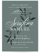 This is a green wedding invitation by Melanie Kosuge called Serafina with standard printing on signature in standard.