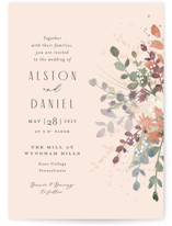 This is a pink wedding invitation by Jennifer Wick called Golden Hour with standard printing on signature in standard.