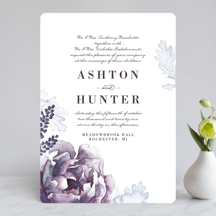 """""""Evening Bloom"""" - Rustic Wedding Invitations in Eggplant by Snow and Ivy."""