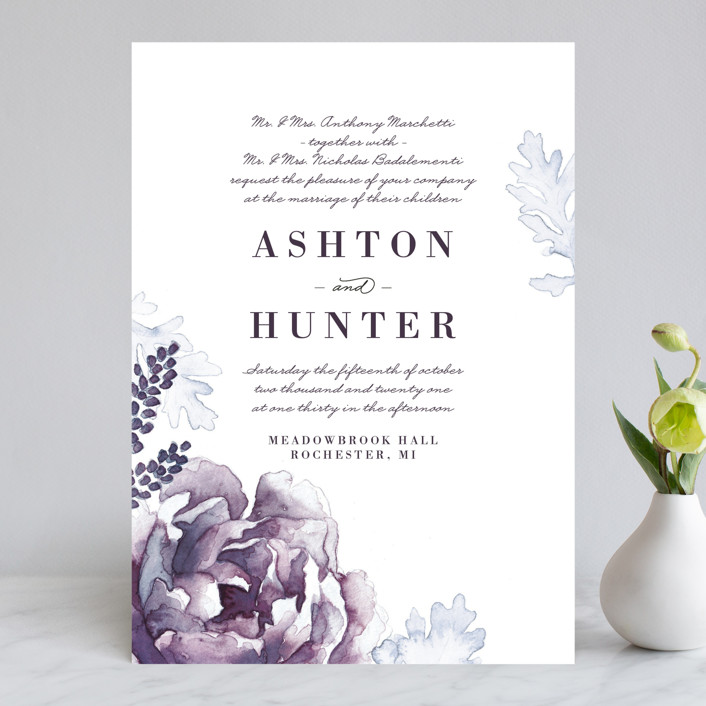"""Evening Bloom"" - Rustic Wedding Invitations in Eggplant by Snow and Ivy."
