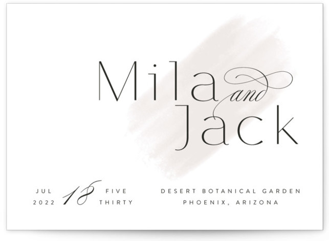 This is a landscape simple and minimalist, grey Wedding Invitations by Kristie Kern called Lithe with Standard printing on Signature in Classic Flat Card format. Fresh and modern minimal design featuring a light watercolor swash.