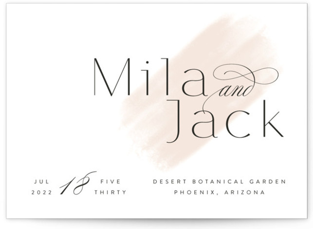 This is a landscape simple and minimalist, brown Wedding Invitations by Kristie Kern called Lithe with Standard printing on Signature in Classic Flat Card format. Fresh and modern minimal design featuring a light watercolor swash.