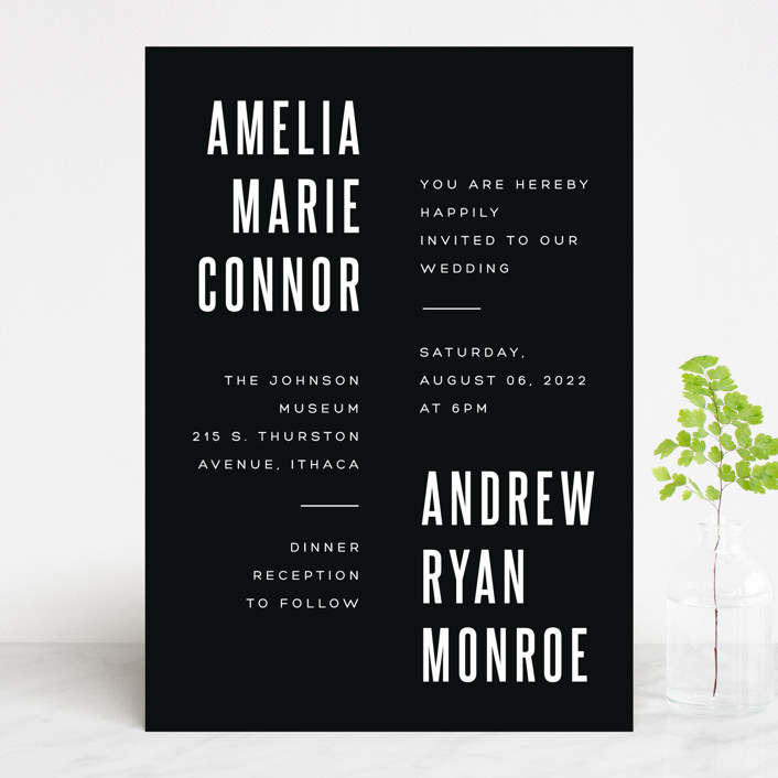 """""""Offset"""" - Wedding Invitations in Ebony by Up Up Creative."""