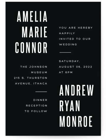This is a black wedding invitation by Up Up Creative called Offset with standard printing on signature in standard.