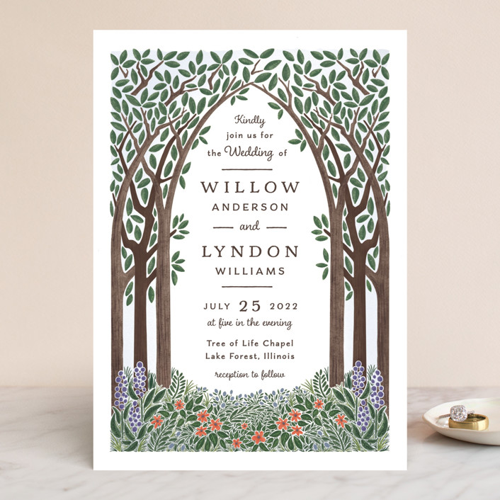 """""""Nature's Chapel"""" - Rustic Wedding Invitations in Forest by Paper Sun Studio."""