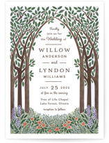 This is a green wedding invitation by Paper Sun Studio called Nature's Chapel with standard printing on signature in standard.
