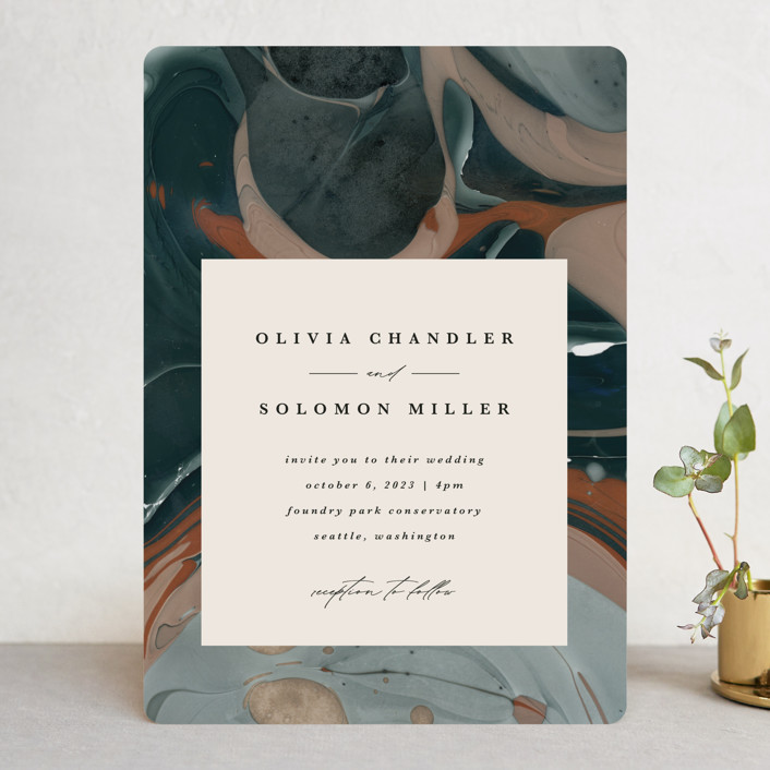 """""""Love Story"""" - Wedding Invitations in Turquoise by Kate Ahn."""