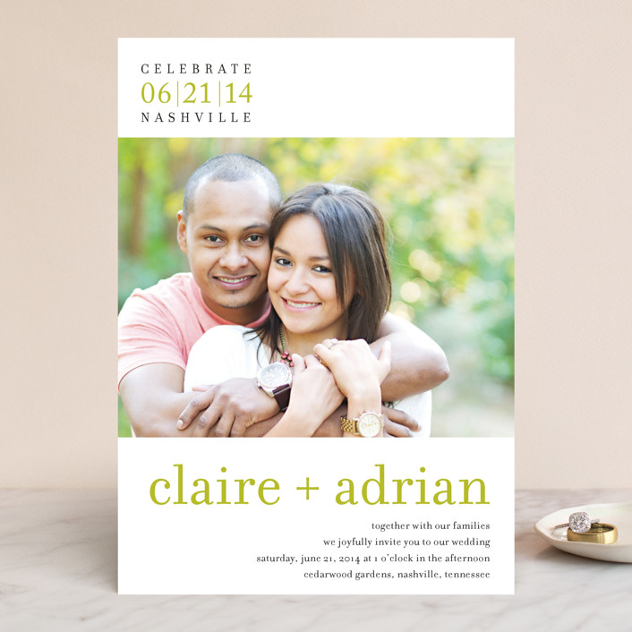 """float + celebrate"" - Simple Wedding Invitations in Celery by Float Paperie."