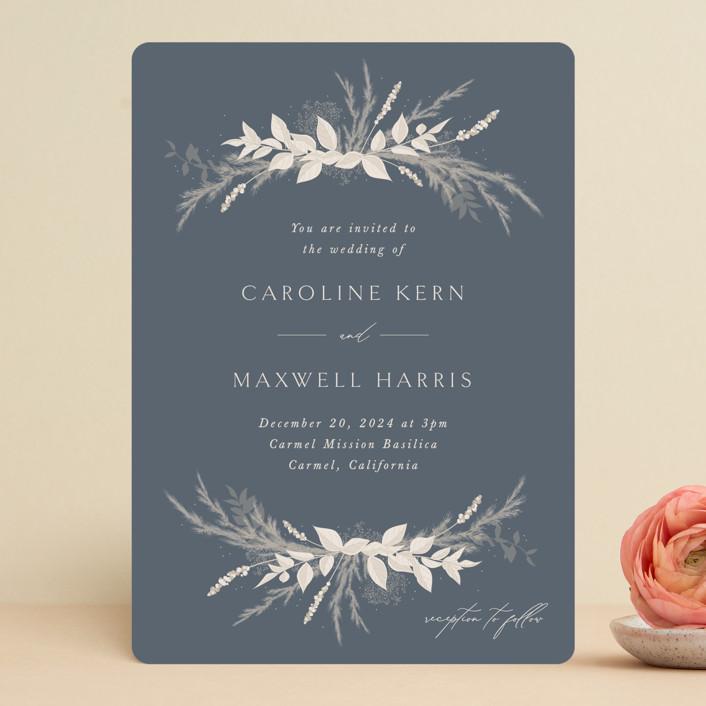 """Winter White Botanicals"" - Bohemian Wedding Invitations in Slate by Erin Deegan."