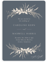 This is a blue wedding invitation by Erin Deegan called Winter White Botanicals with standard printing on signature in standard.