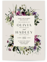 This is a purple wedding invitation by Lori Wemple called Floral Love with standard printing on signature in standard.