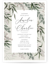 This is a grey wedding invitation by Chris Griffith called Wedding Whisper with standard printing on signature in standard.