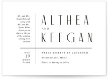 This is a white wedding invitation by Jennifer Wick called Narrative with standard printing on signature in standard.