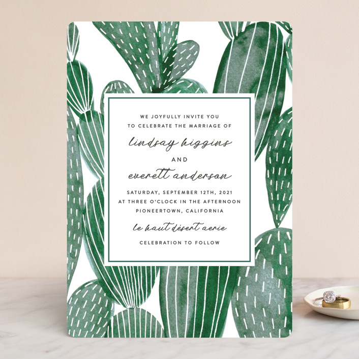 """""""Painted Cacti"""" - Wedding Invitations in Cactus by Olivia Raufman."""