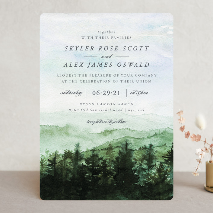 """mountain wedding"" - Destination Wedding Invitations in Summer by Anastasia Makarova."